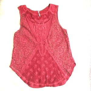 Free People embroidered lace sleeveless top Small